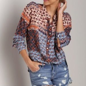 Free People Patchwork High Low Button Down Blouse